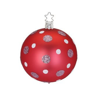 Inge Glas - Christbaumkugel Dots - DM 6 cm - rot matt - Glas